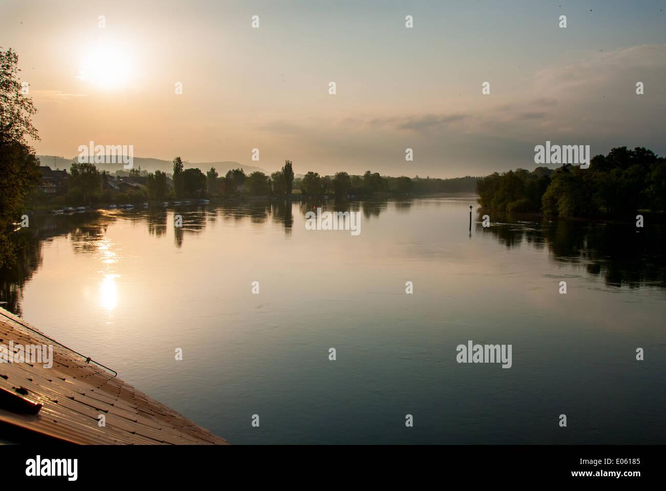 Une vue d'un des bras morts du Rhin à tôt le matin, juste un peu après l'aube Photo Stock
