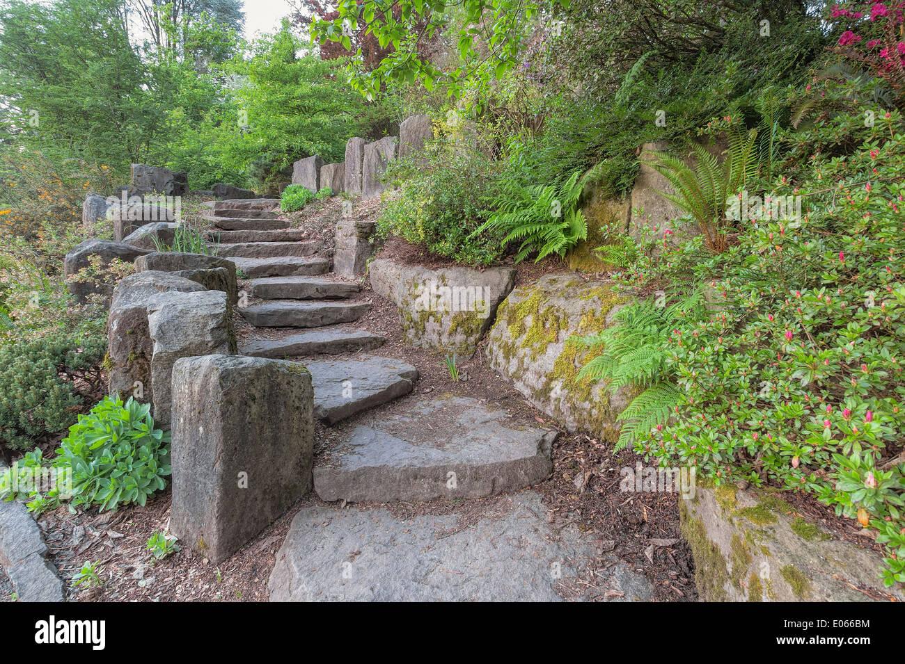 Escalier en pierre jardin paves avec rochers naturels avec des ...