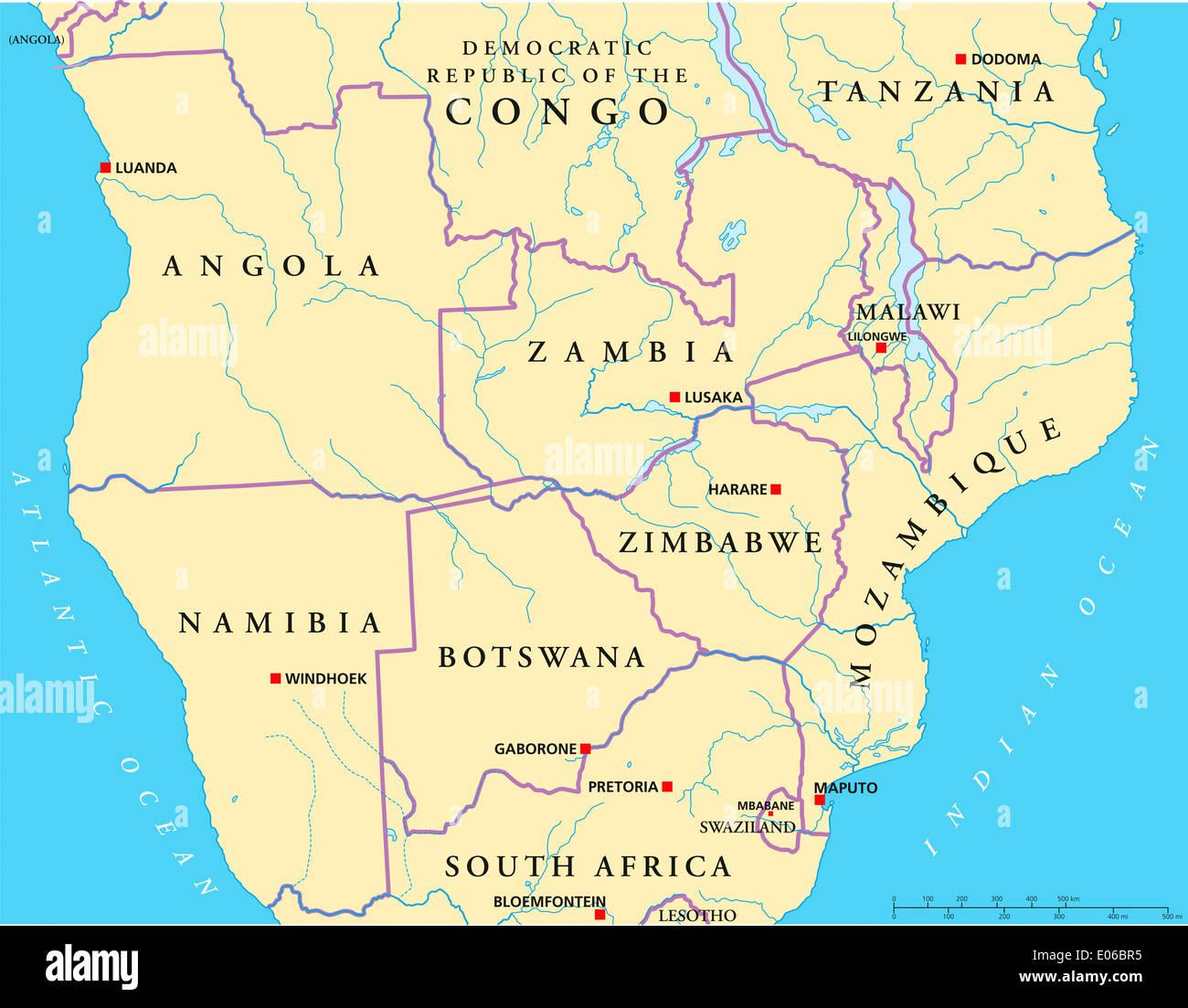 Carte Politique De Lafrique Centrale.Carte Politique De L Afrique Australe Et Centrale Banque D