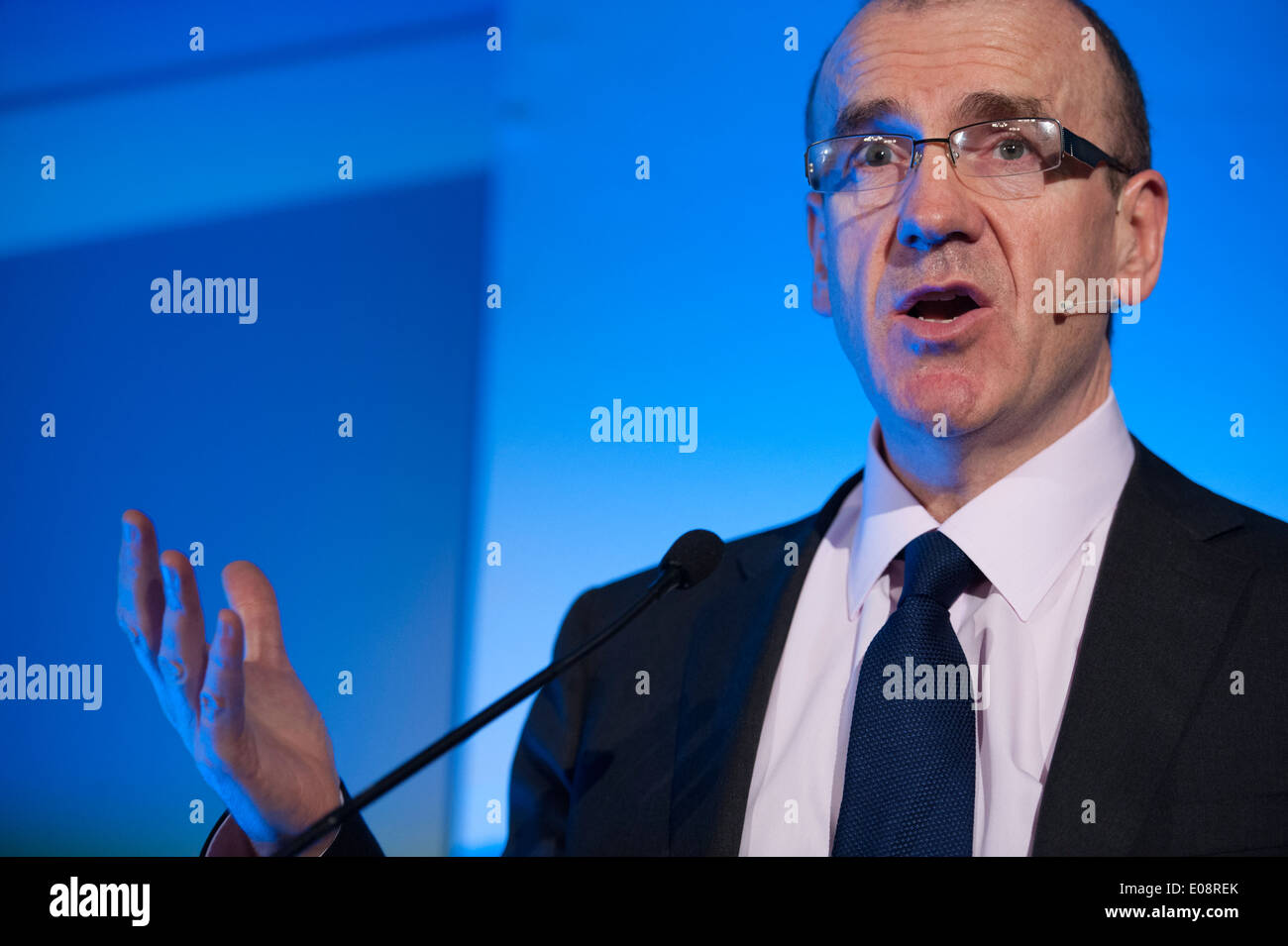 Sir Terry Leahy, ex-directeur général de Tesco s'exprime à l'occasion d'un congrès à Manchester, 2014 Photo Stock