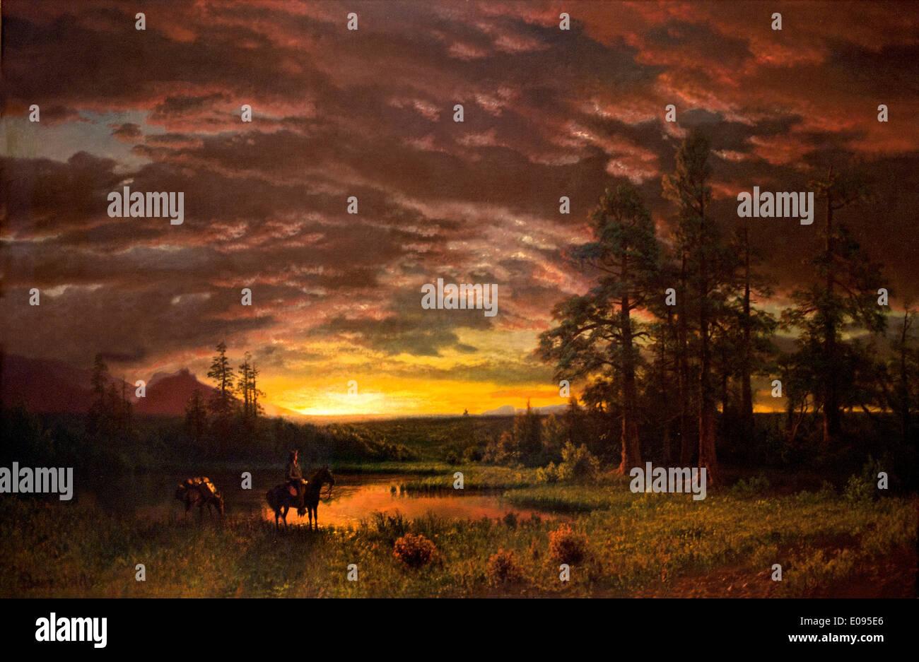 Soir dans la prairie ca. 1830 1902 1870 Albert Bierstadt German American Photo Stock