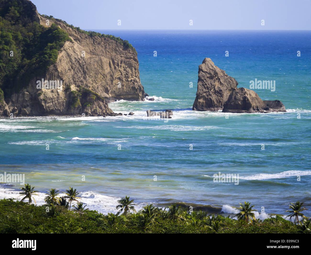 Caraïbes, Antilles, Sainte-Lucie, Fond d'Or Bay près de Dennery Photo Stock