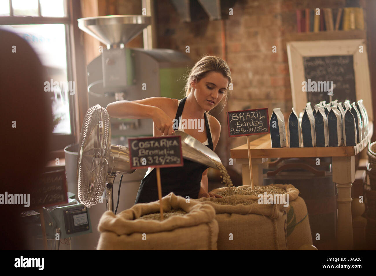 Young woman working in coffee shop, café d'écopage Photo Stock
