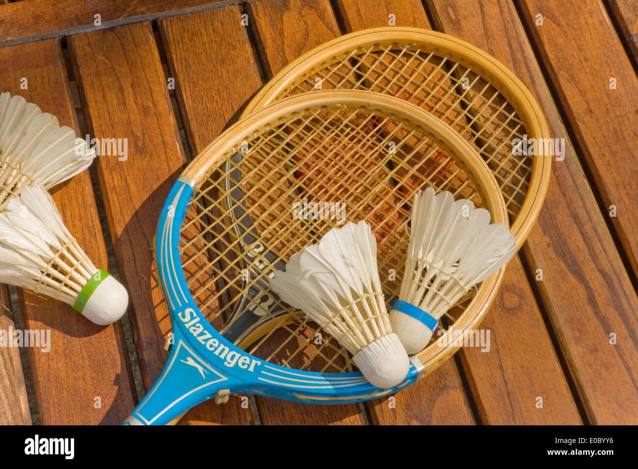Raquettes de badminton avec volants Banque D'Images