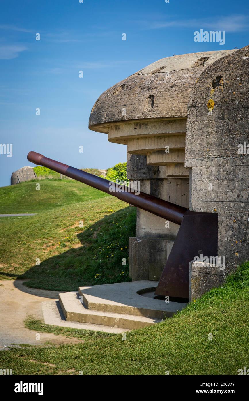 German 150mm à l'avant, de longues-sur-Mer - une partie de la batterie D-Day, système de défense allemand Normandie France Photo Stock