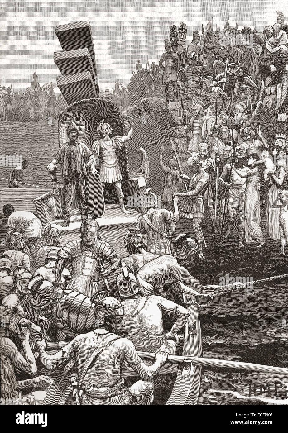 Soldats romains laissant le britannique au 4ème siècle. Photo Stock