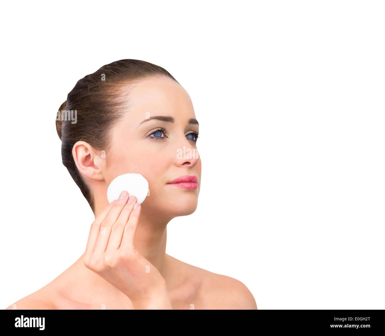 Son visage nettoyage beauté naturelle Photo Stock