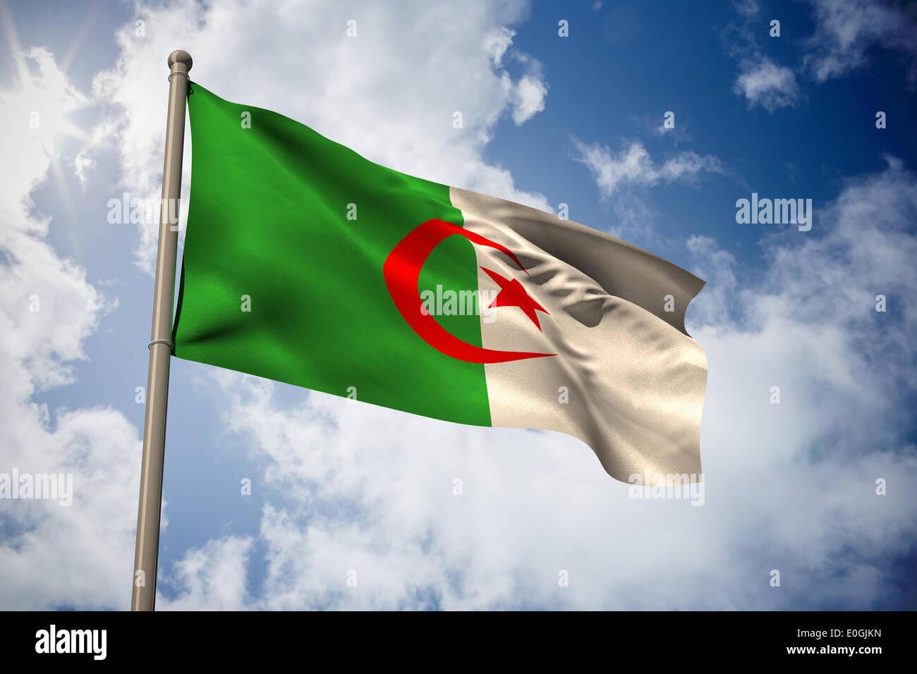L'Algérie drapeau national Photo Stock