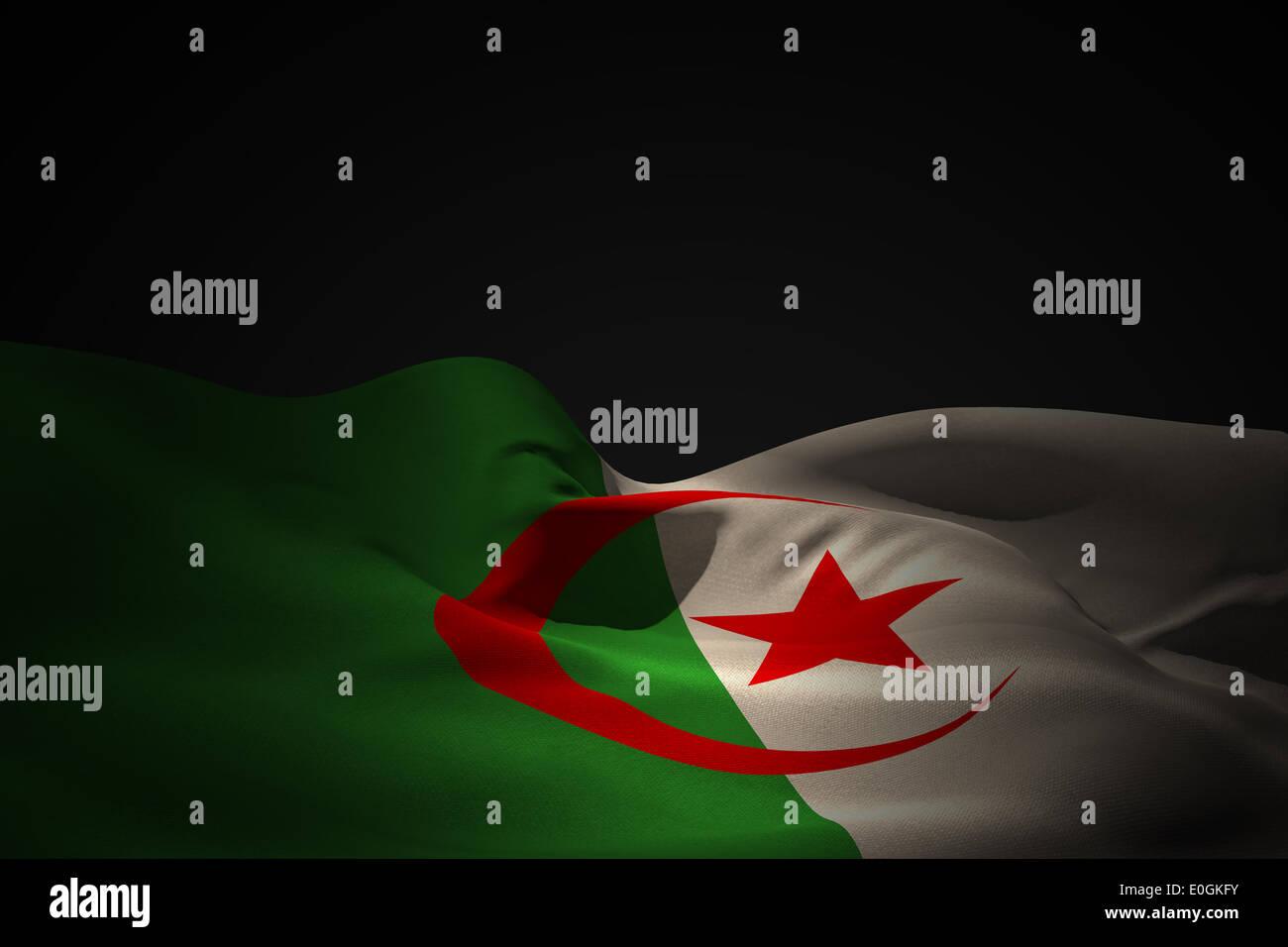De brandir le drapeau de l'Algérie Photo Stock
