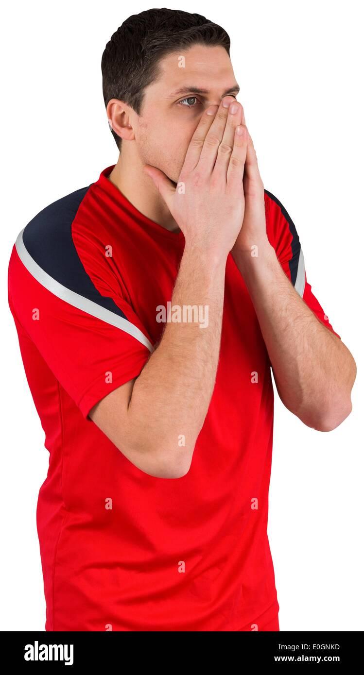 Joueur de football nerveux en ce qui concerne l'avenir Photo Stock