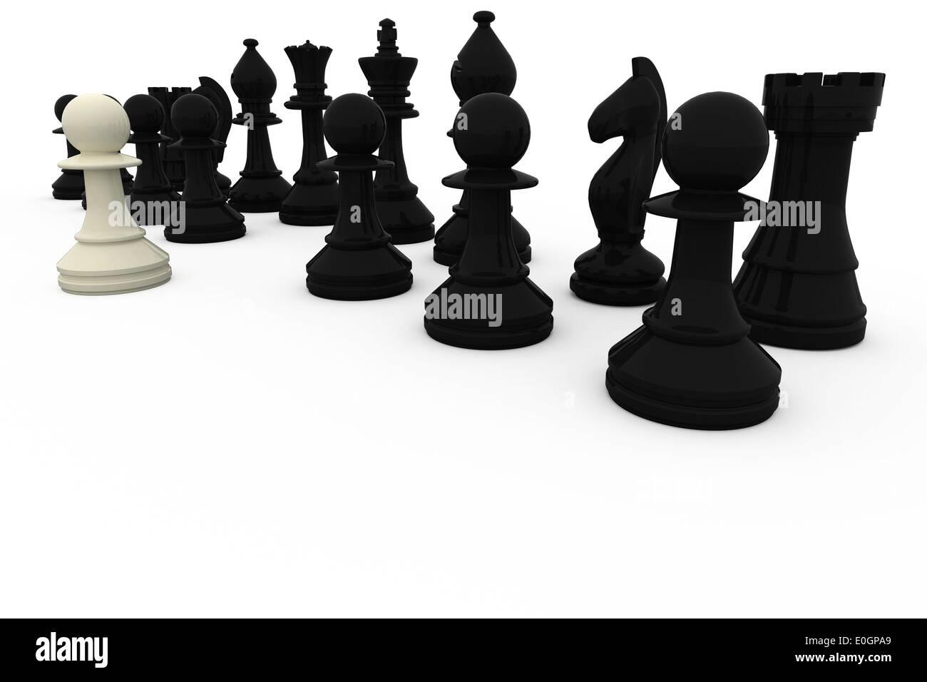 Le pion blanc face à l'opposition noir Photo Stock