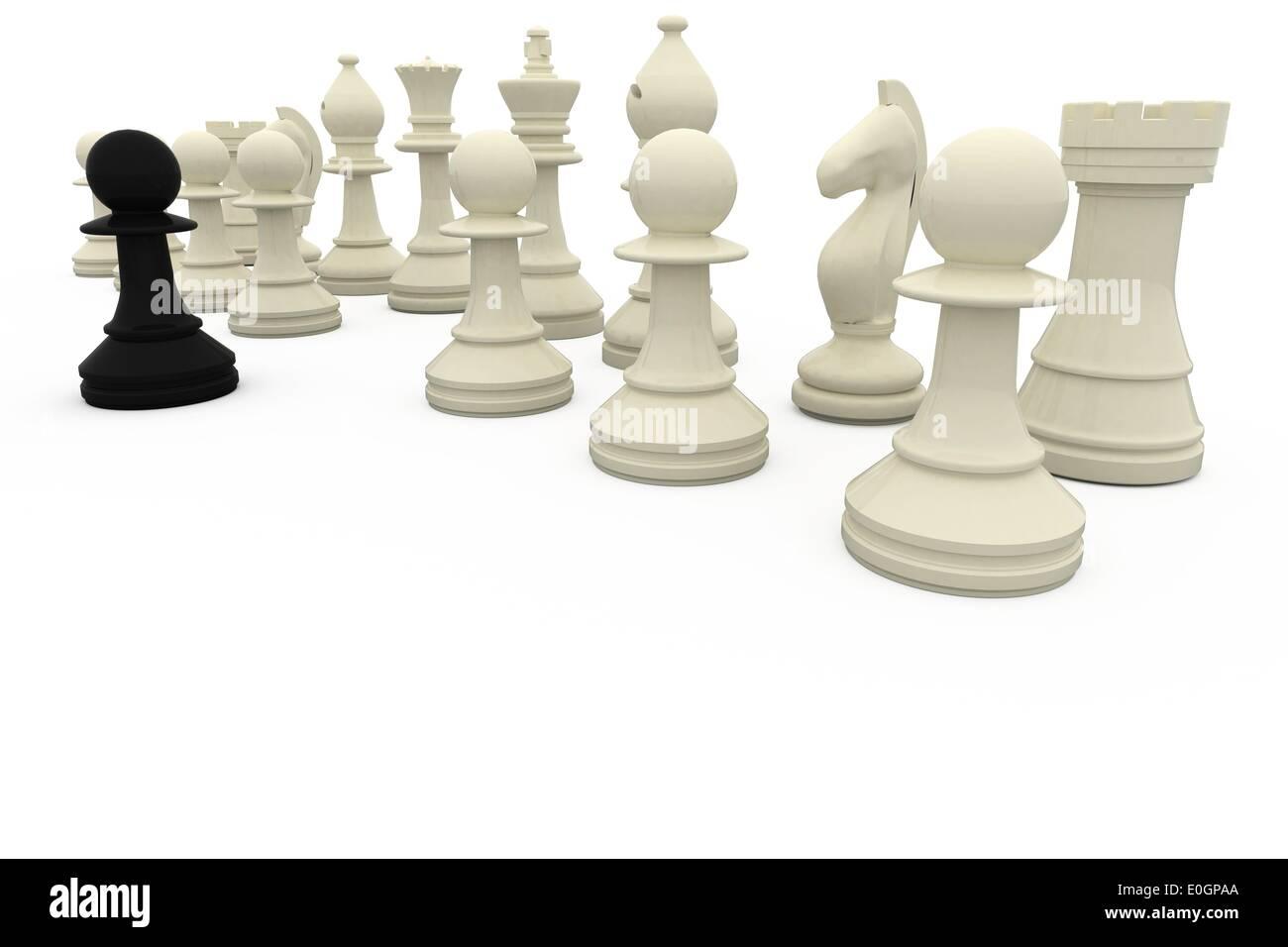Pion noir face à l'opposition blanc Photo Stock