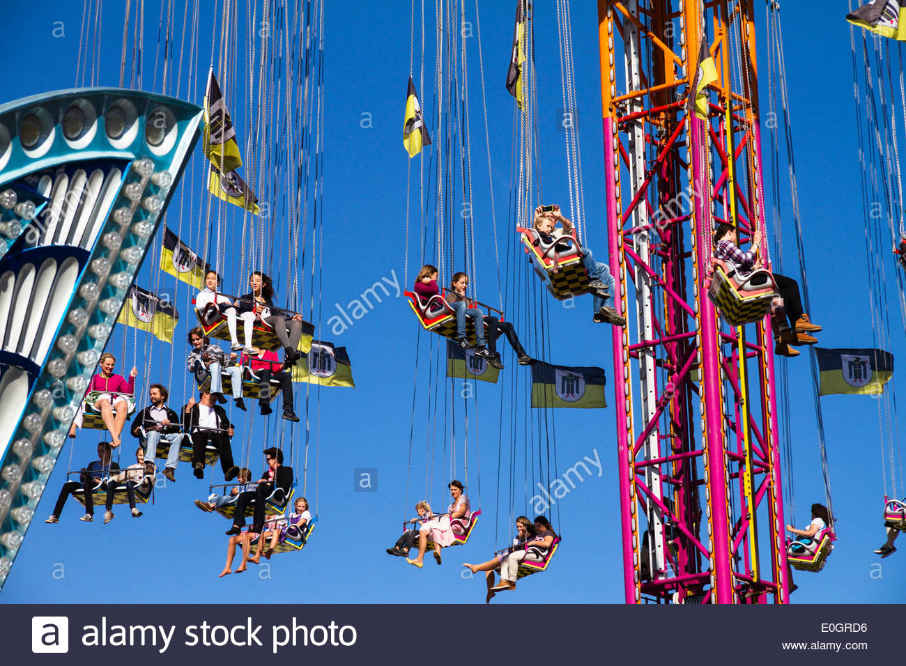 Carousel sur l'Oktoberfest, Munich, Haute-Bavière, Bavière, Allemagne Photo Stock