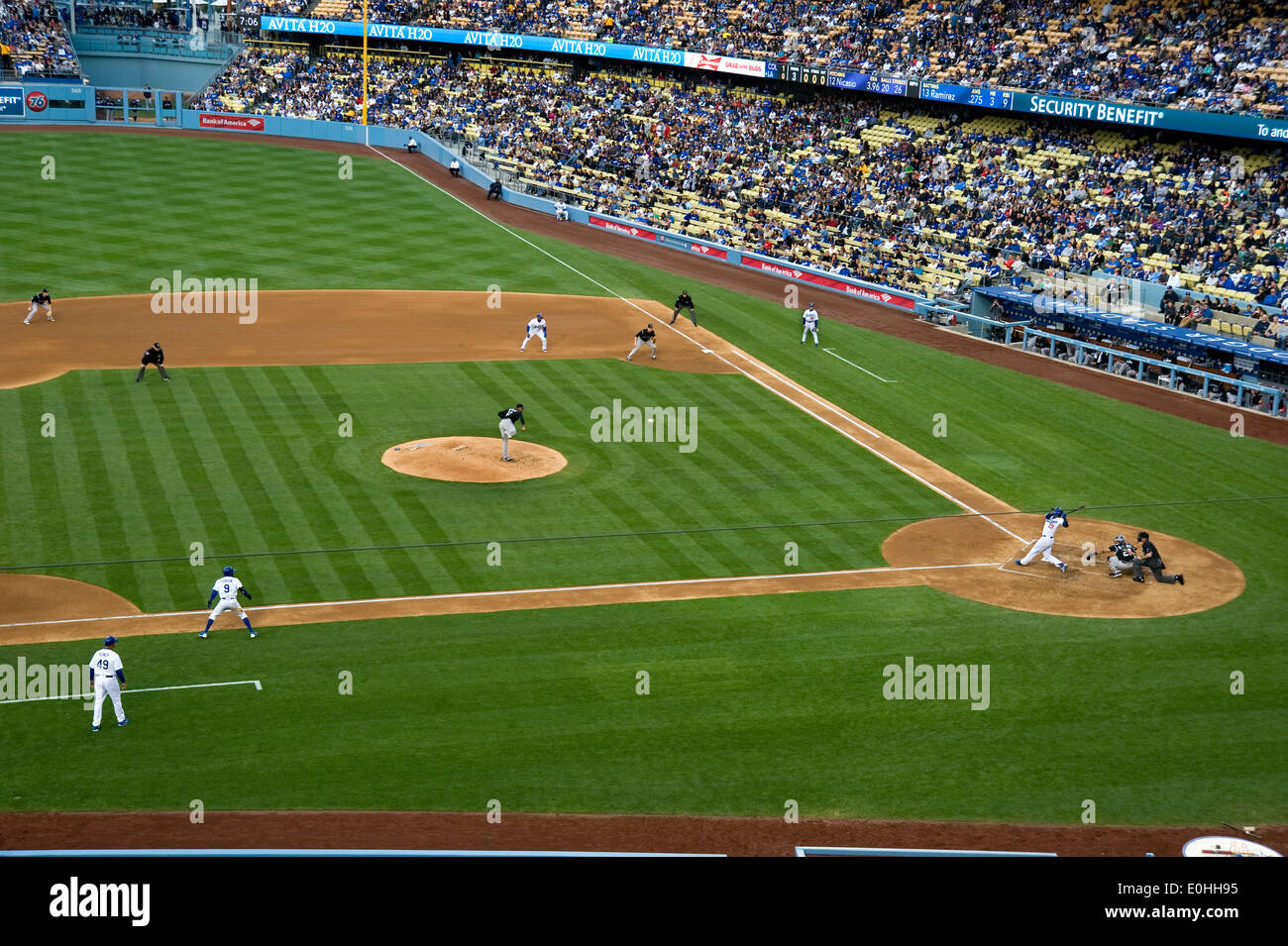 Jeu de base-ball au Dodger Stadium. Photo Stock
