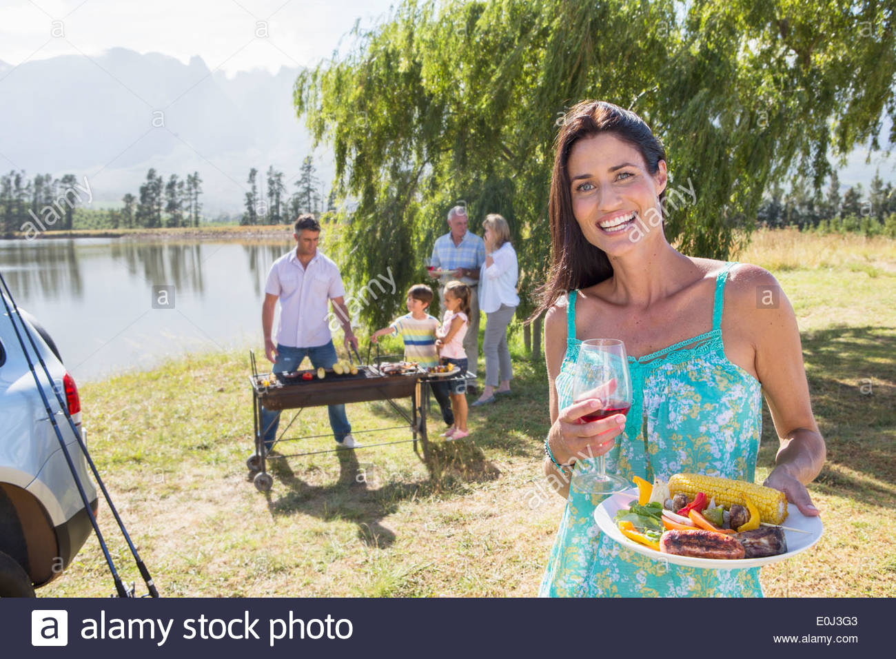 Cooking Barbeque in Countryside Photo Stock