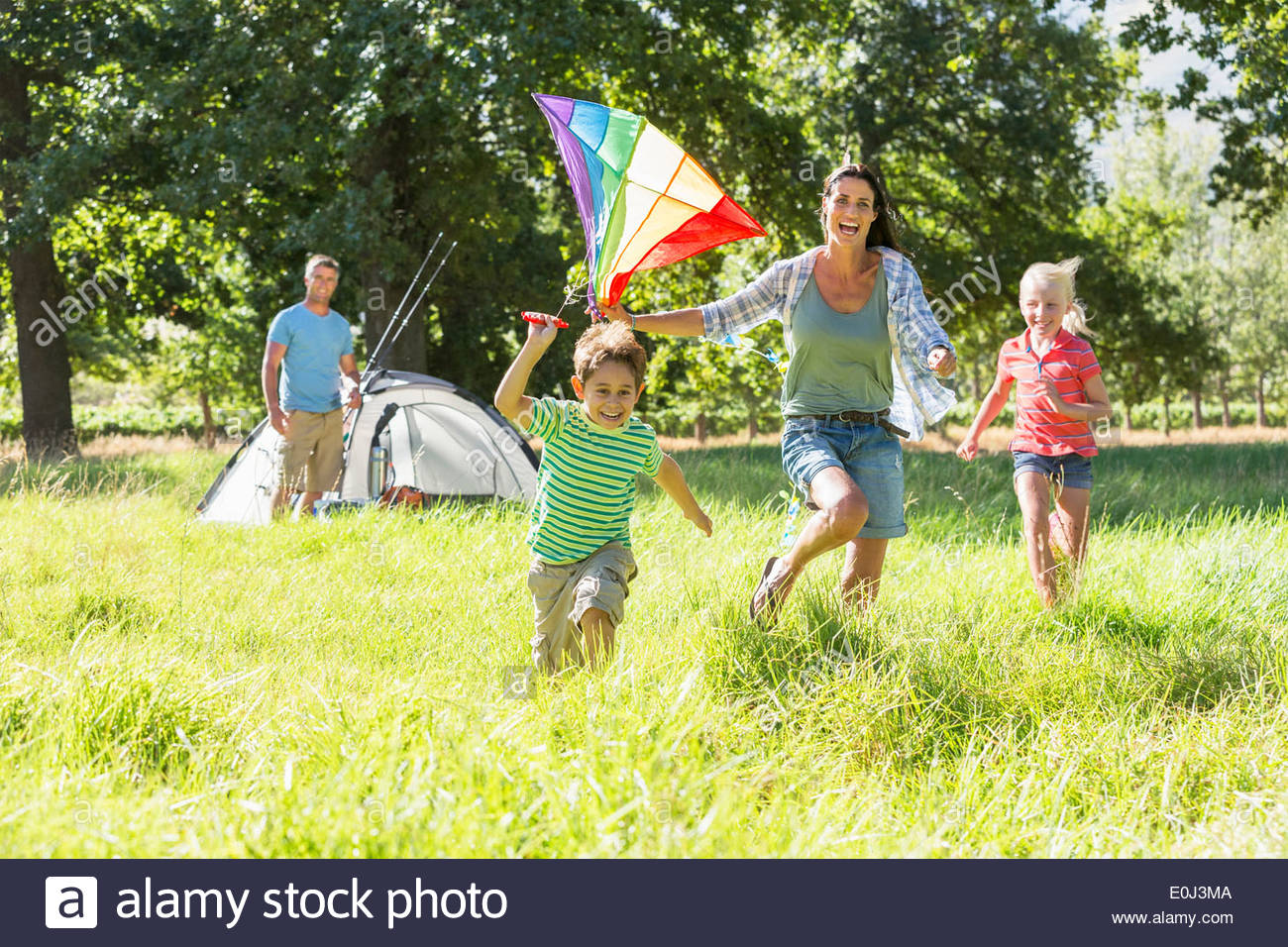 Family Camping Holiday In Countryside Photo Stock