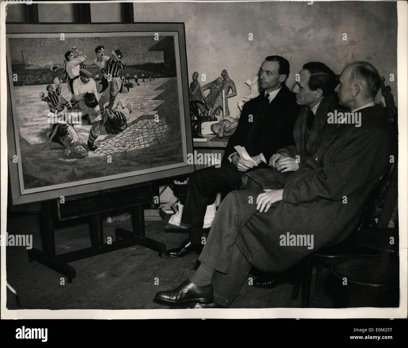 Avril 04, 1953 - Jugement Entrie pour le ''Le Football et les beaux-arts'' de la concurrence.. Le jugement a commencé ce matin du 1 710 entrées pour les ''Le Football et les beaux-arts'', organisé par la Football Association, à Temple Lodge, 75015... Prix d'un montant de 3 000 £sont accordées pour les œuvres d'art traitant de ''un jeu de football, en Angleterre, ou n'importe quelle scène directement connecté avec lui''. Il est organisé dans le cadre de la célébration en lien avec le 19e anniversaire de cette association. Photo Stock
