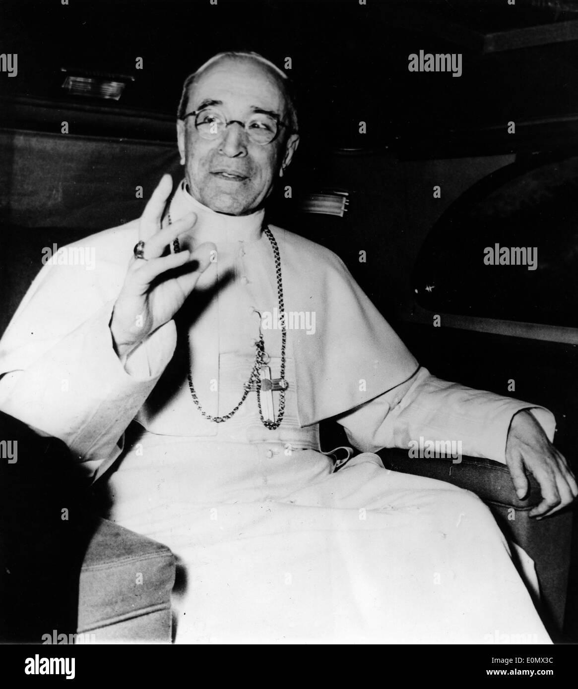 Le pape Pie XII durant un service Photo Stock