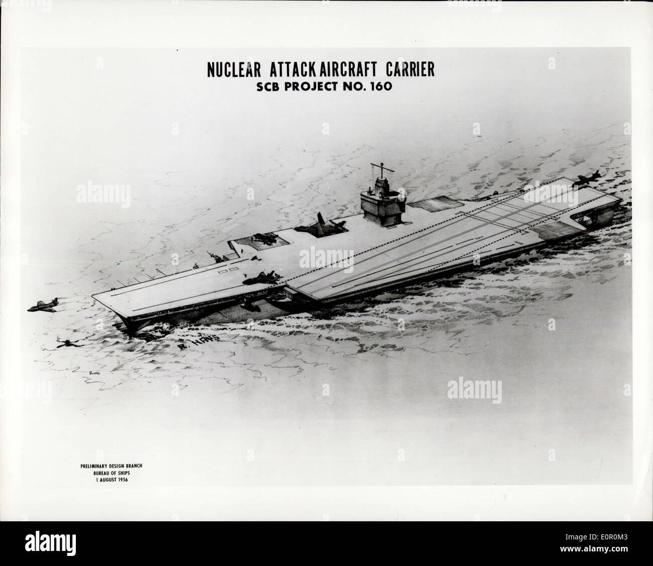 02 août, 1957 - Concept de l'artiste marines de la CVA (transporteur demeurait pertinent compte tenu proposée (N)). CVA(N) représentera la plus moderne d'une longue série d'attaque des transporteurs, en commençant par l'USS Langley en 1922, l'une des plus importantes caractéristiques de l'CVAN Sera Steaking presque illimité à haute vitesse d'Endurance. La flexibilité opérationnelle sera augmenté également, en raison de cette capacité, puisque grande vitesse peut être maintenu sans égard à la conservation de l'huile de carburant; les capacités offensives et défensives seront améliorées et la reconstitution des exigences, Rejuced Photo Stock