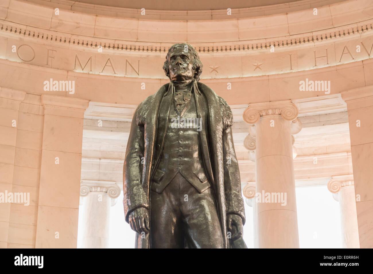Statue de Thomas Jefferson dans le Jefferson Memorial, Washington DC, USA Banque D'Images