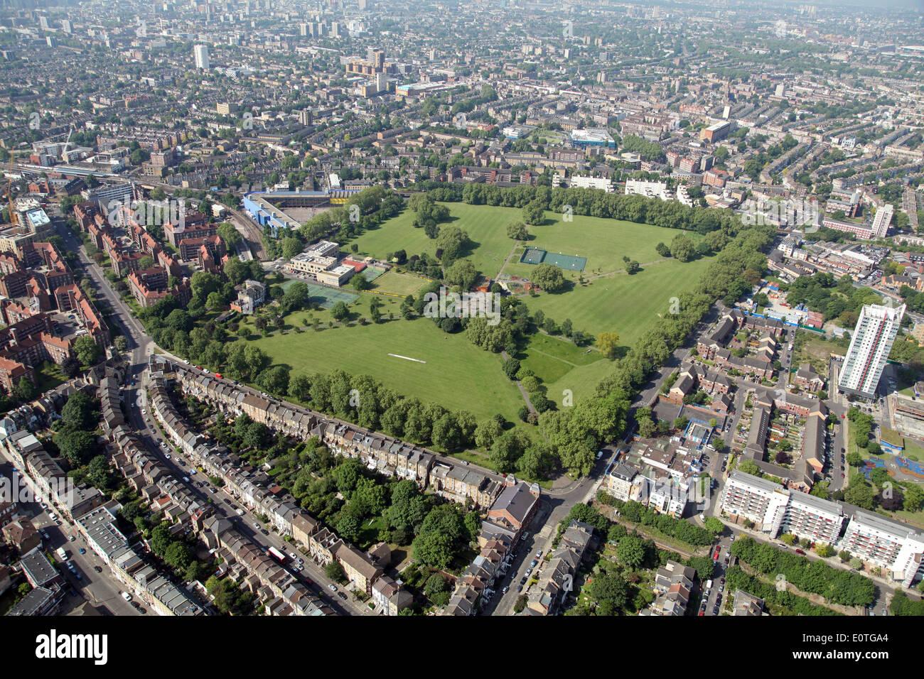 Vue aérienne de Hackney Downs Park à Londres, Royaume-Uni Photo Stock