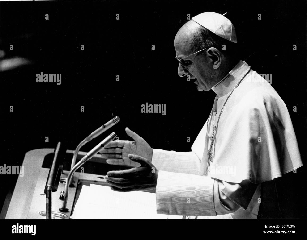 Le pape Paul VI au cours d'un service Photo Stock
