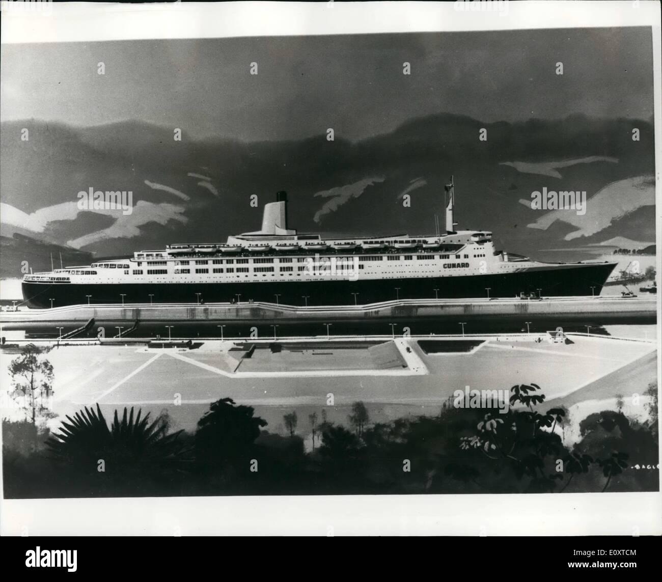 Septembre 09, 1967 - Un artiste du nouveau paquebot de Cunard Q-4: Artiste Laurence Bagley capturer la scène de comment le nouveau paquebot Cunard Q-4 examinera les bords comme elle son chemin à travers le canal de Panama, le plus grand navire dans les mondes en mesure de le faire. Elle sera également en mesure de passer il par le canal de Suez. Le liner qui sera verrouillé et nommé par la reine à Clydebank aujourd'hui auront plus d'espace de pont découvert que tout autre navire de passagers Photo Stock