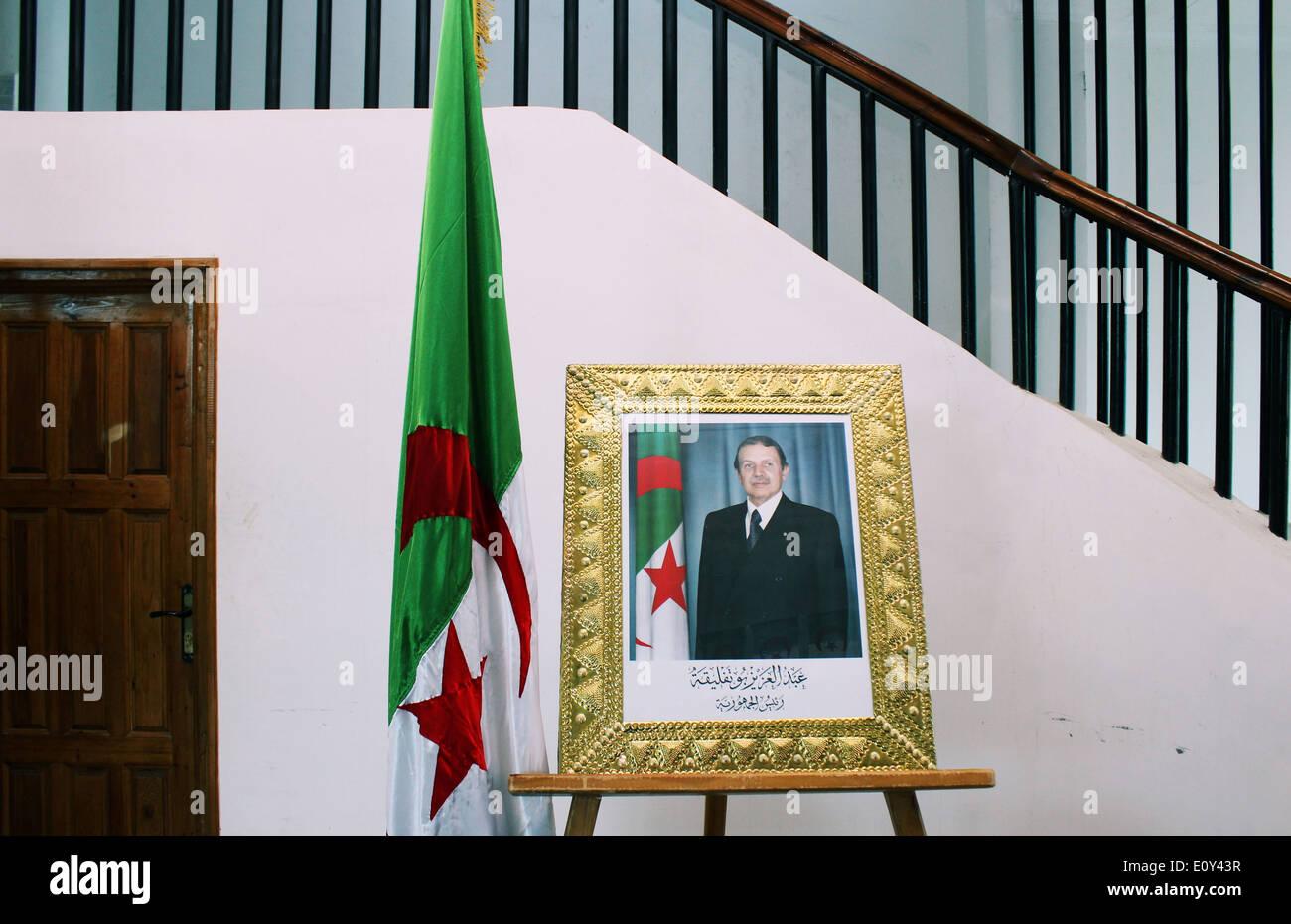 Portrait du président algérien à M'sila, Algérie. Photo Stock