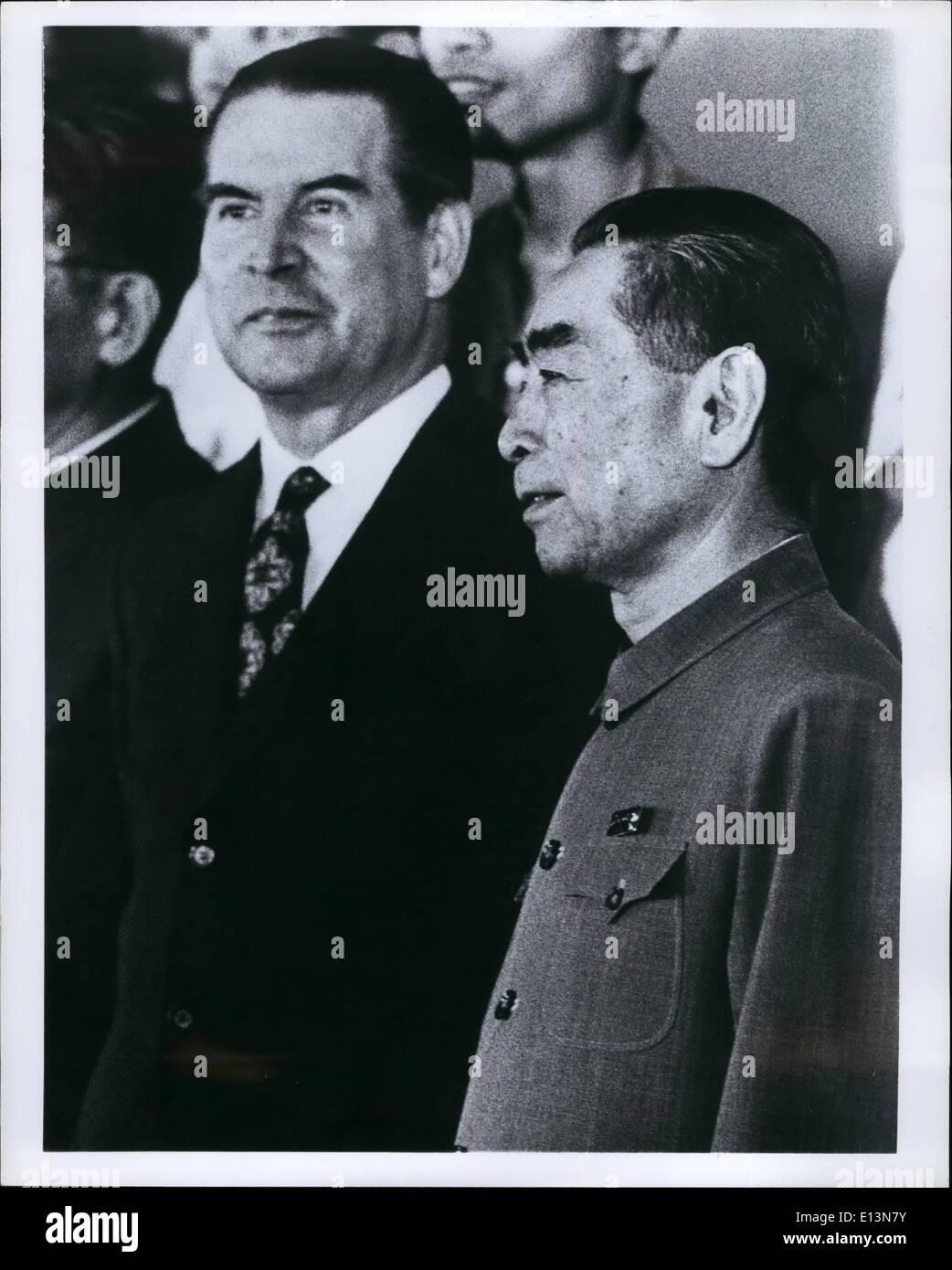 Mar. 22, 2012 - Le leader de l'opposition de l'Allemagne de l'Ouest Gerhard Schroder et le Premier ministre chinois Chou En 1972 de Pékin. Photo Stock