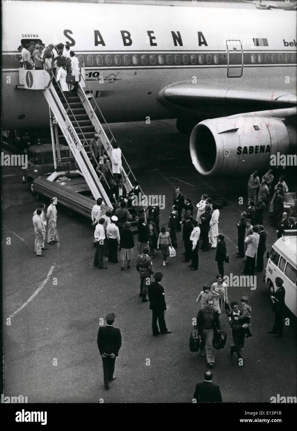 Mar. 22, 2012 - les réfugiés de Kolwezi arrivent à Bruxelles Banque D'Images