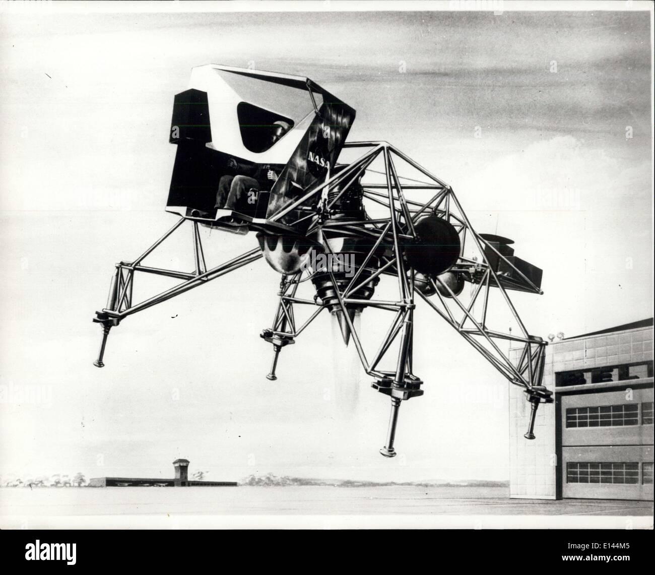 Avril 04, 2012 - 11.4.67 concept de l'artiste d'alunissage véhicule de formation. C'est un concept de l'artiste de la formation à l'atterrissage lunaire Véhicule (LLTV) à être construit sous contrat par Bell Aerosystems Co., Buffalo, N.Y. pour la National Aeronautics and Space Administration de fournir trois véhicules qui les astronautes vont utiliser pour simuler la pratique des atterrissages sur la lune. Les véhicules seront capables de simuler la gravité d'un sixième de la lune. Lors de son utilisation, l'LLTV est effectué sur la terre sur son moteur à réaction, puis a manoeuvré comme une lune de plaisance avec de petites fusées Photo Stock