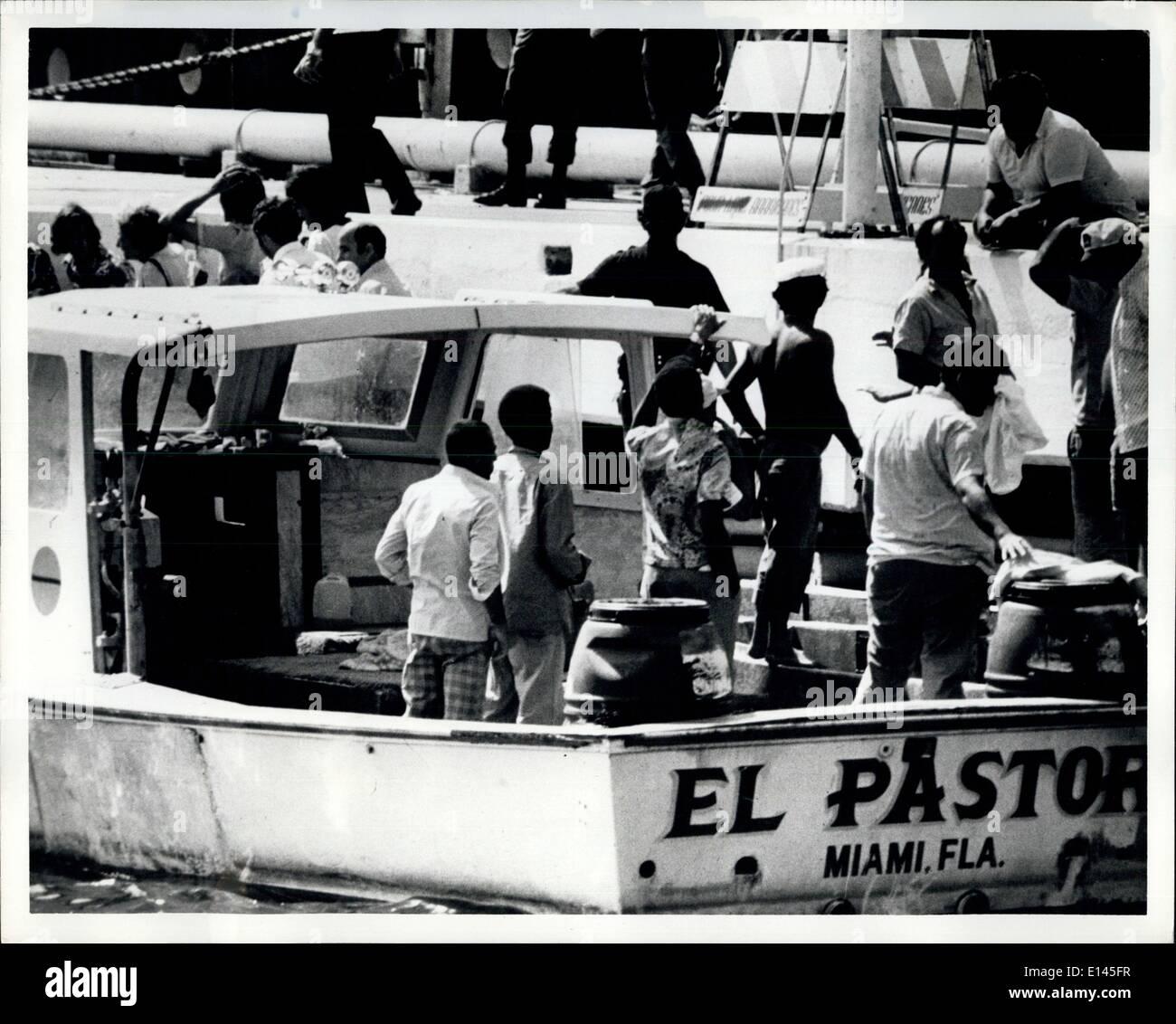 Avril 04, 2012 - les réfugiés cubains arrivant à la base navale de Key West. Banque D'Images