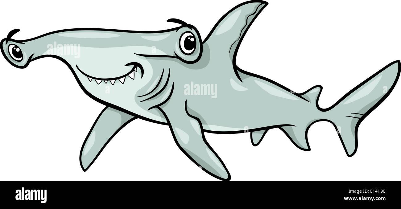 Cartoon illustration de poisson requin marteau animal sea - Dessin requin marteau ...
