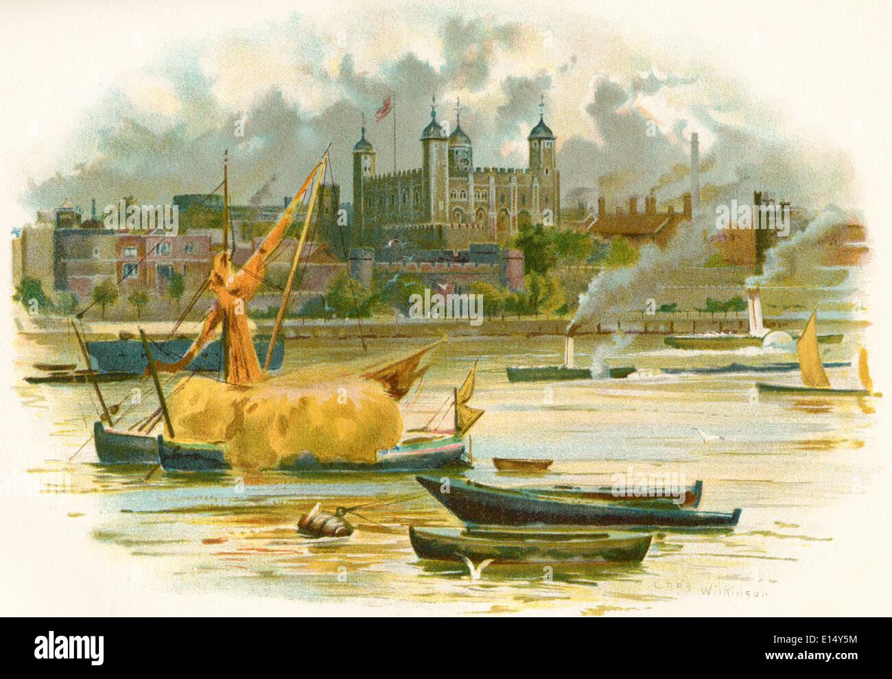 Tour de Londres au 19ème siècle. Aussi connu comme le palais royal et forteresse. Londres, Angleterre. Banque D'Images