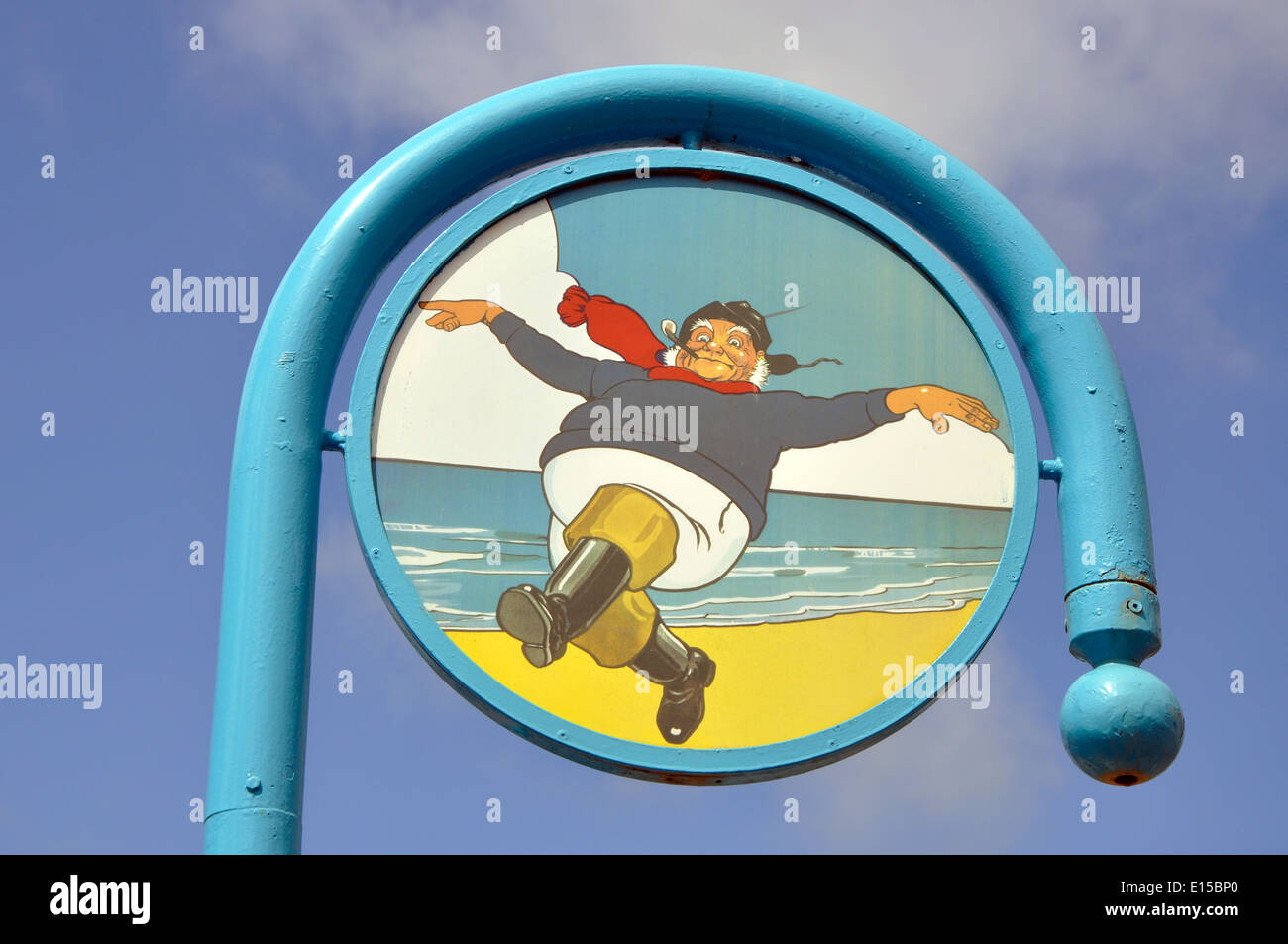 Le Jolly Fisherman signe, Skegness, Lincolnshire, Angleterre, RU Photo Stock