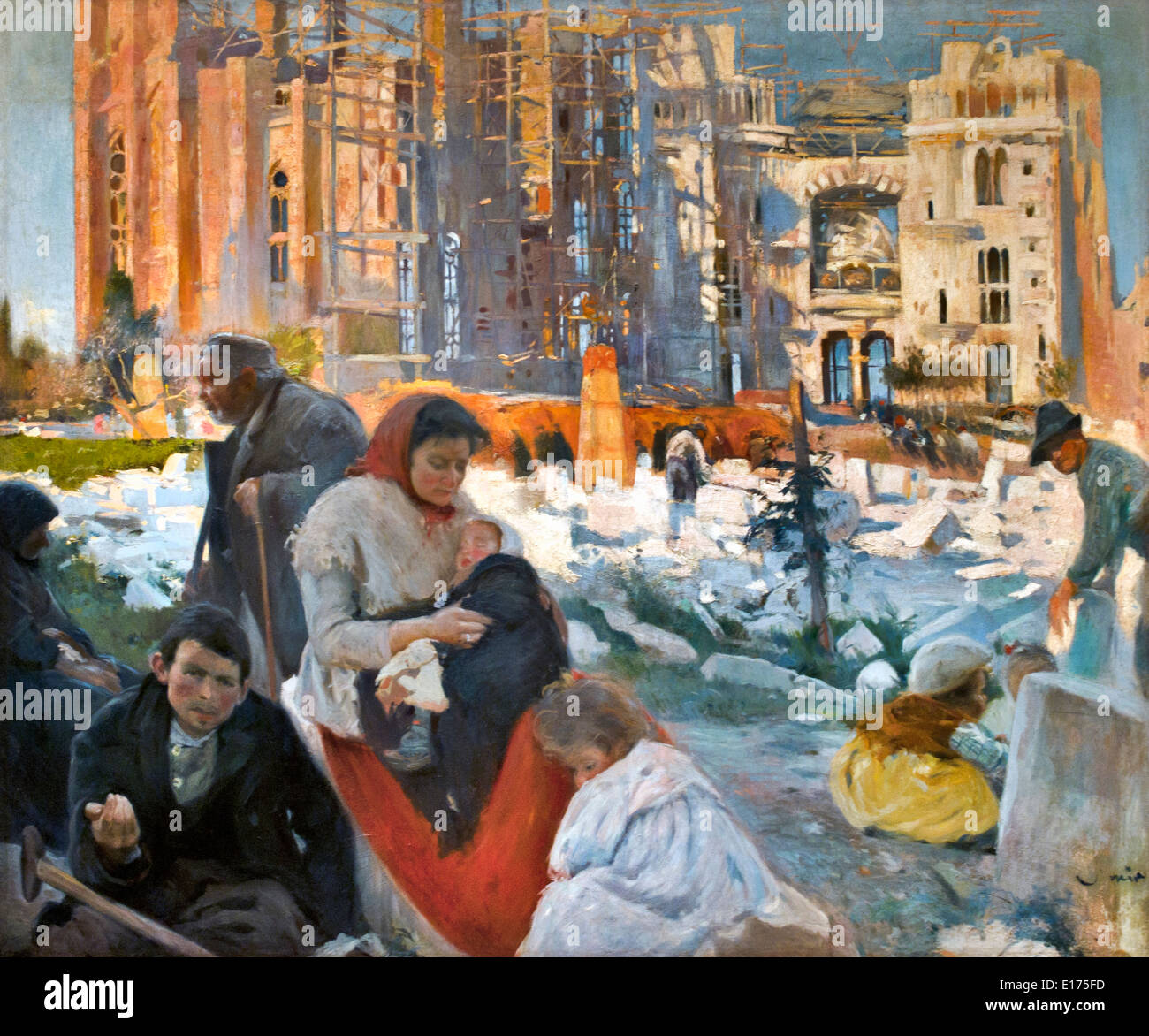 La Cathédrale des pauvres 1898 Joaquim Mir 1873-1940 Espagne Espagnol Photo Stock