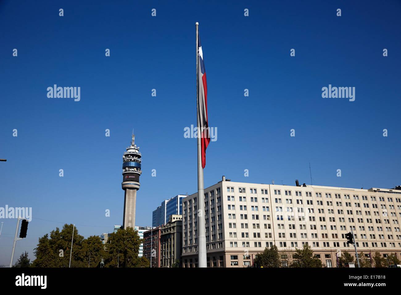 Grand drapeau bicentenaire en citoyens square Santiago Chili Photo Stock