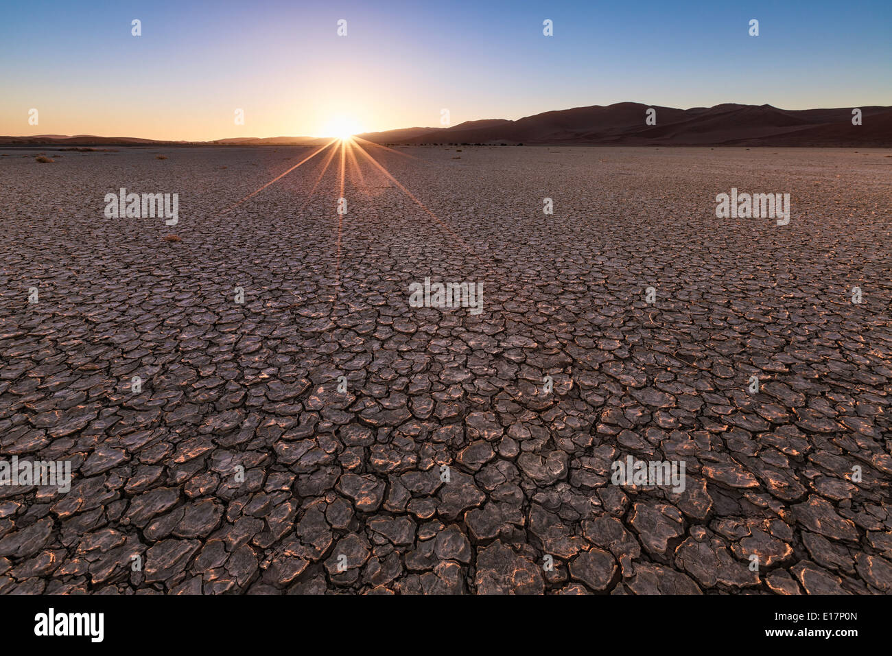 La boue fissuré.Sossusvlei.La Namibie Banque D'Images