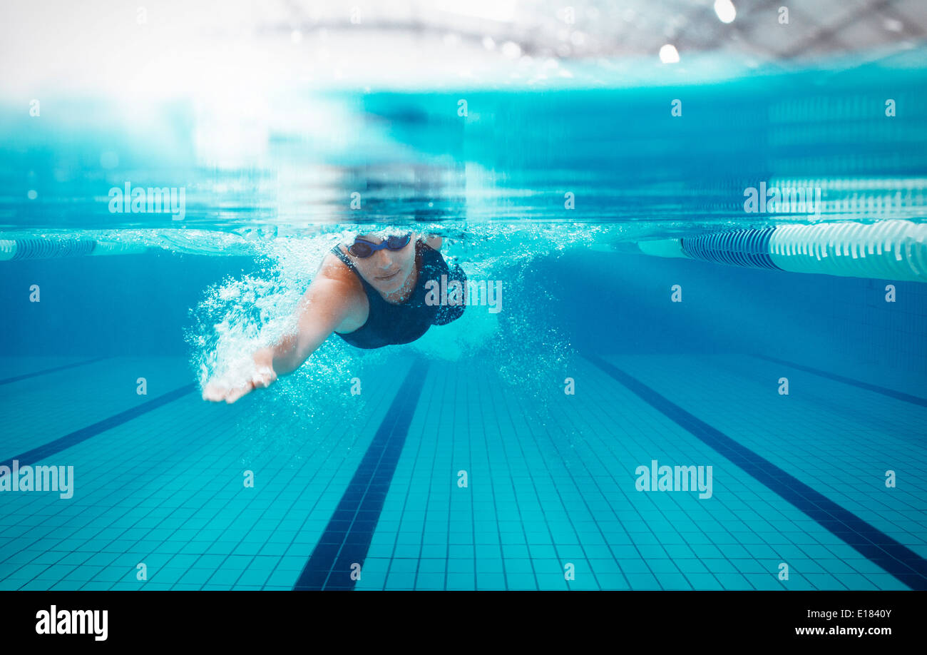 Swimmer racing in pool Photo Stock