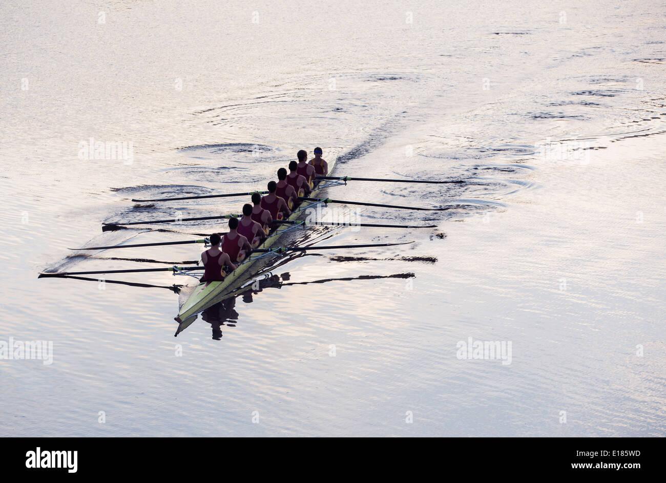 L'équipe d'aviron de godille d'aviron sur le lac Photo Stock
