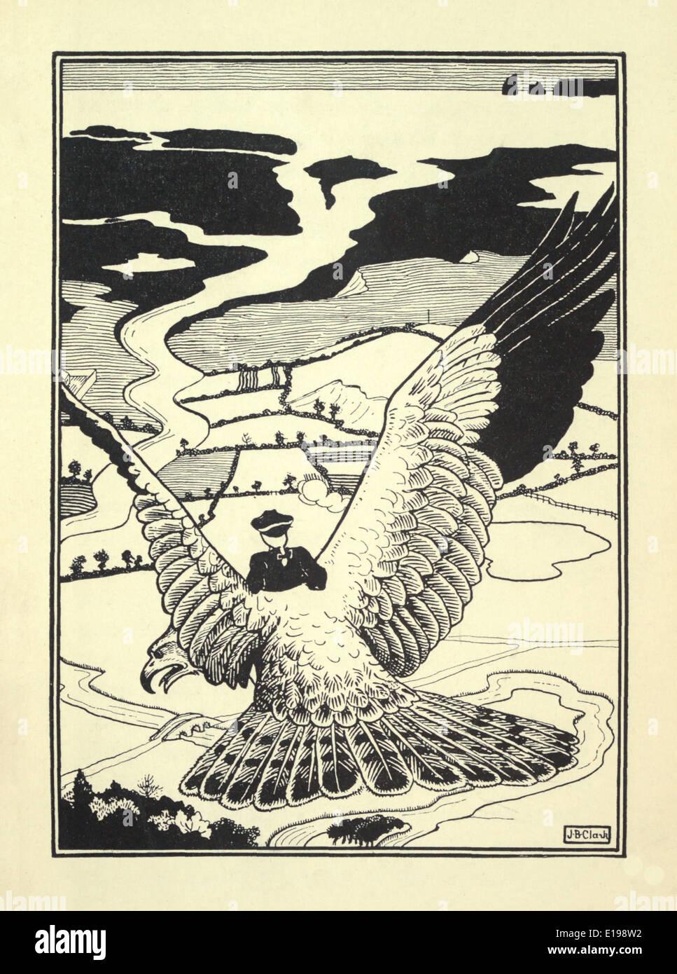 J. B. Clark illustration de 'Les Aventures surprenantes de Baron Munchausen' par Rudoph Raspe publié en 1895. Banque D'Images