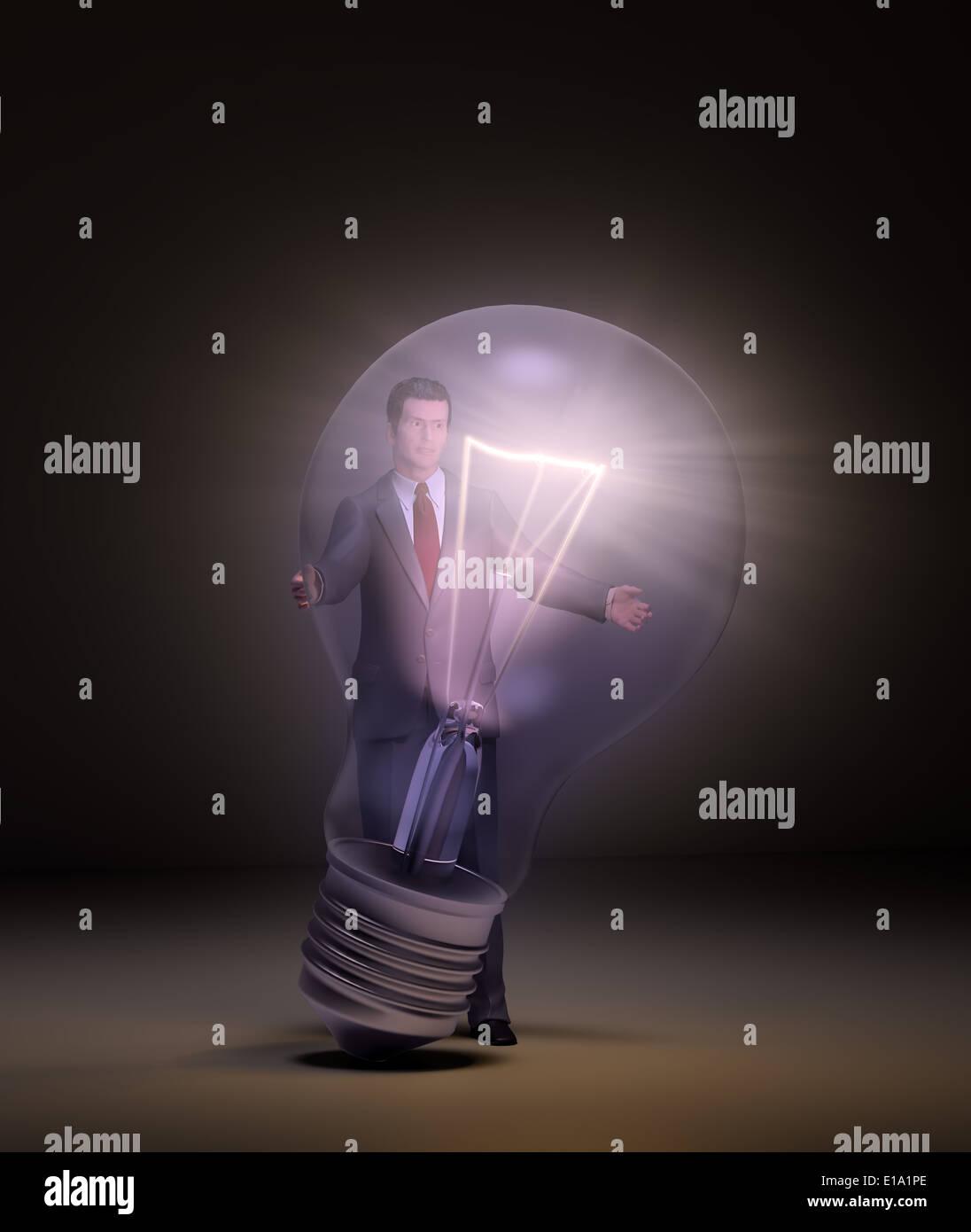 Un business man holding un énorme lightbulb Banque D'Images