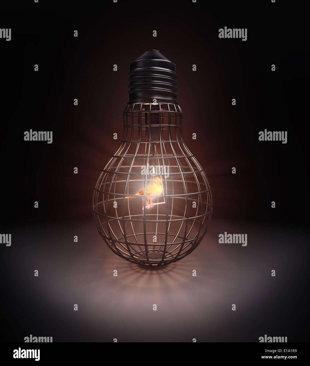 Un oiseau à l'intérieur d'une cage en forme d'ampoule Banque D'Images