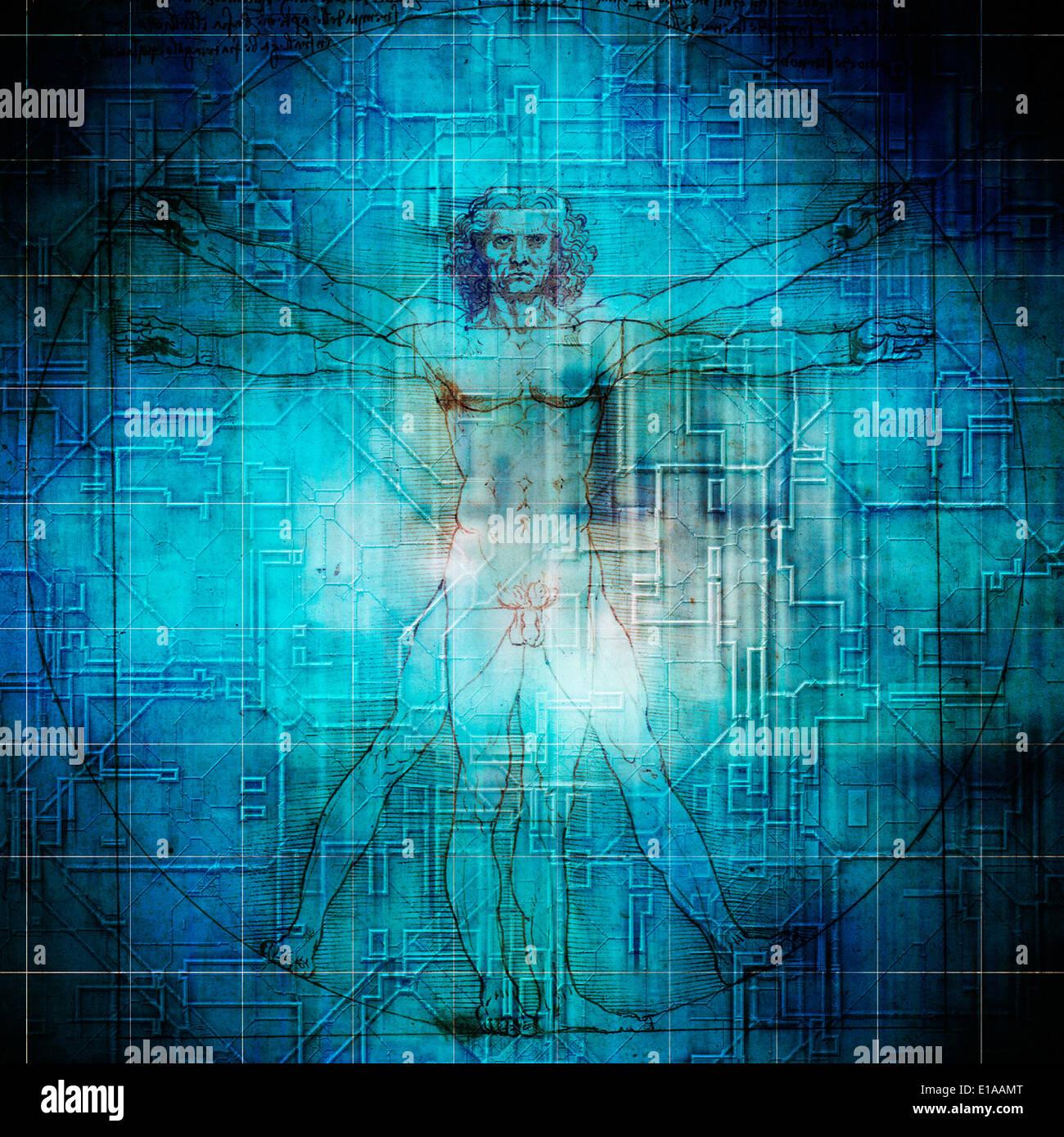 L'homme de Vitruve Vitruve, artistique ou composite Photo Stock