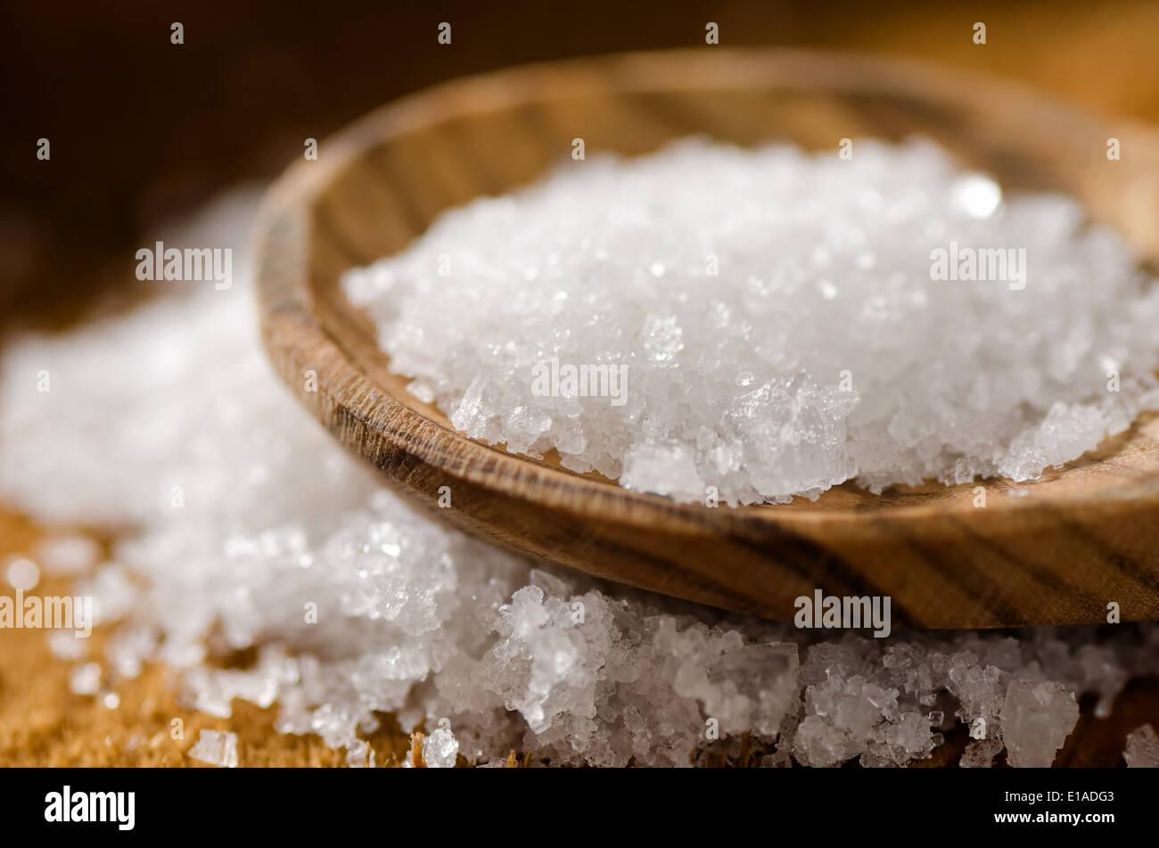 Close up de sel de mer - fleur de sel. Photo Stock