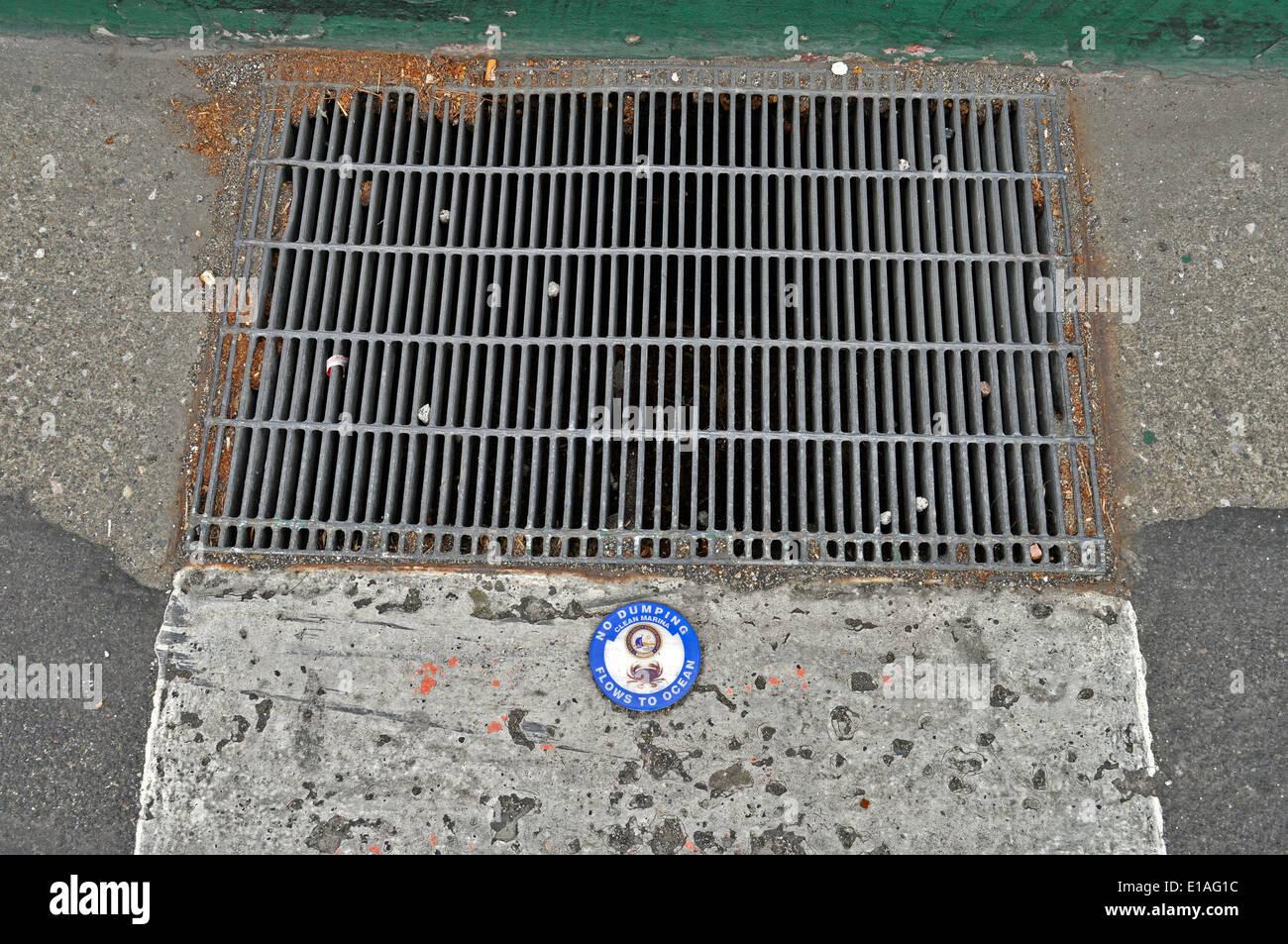 Eaux pluviales 'aucun dumping n'écoule vers Ocean' sign Photo Stock