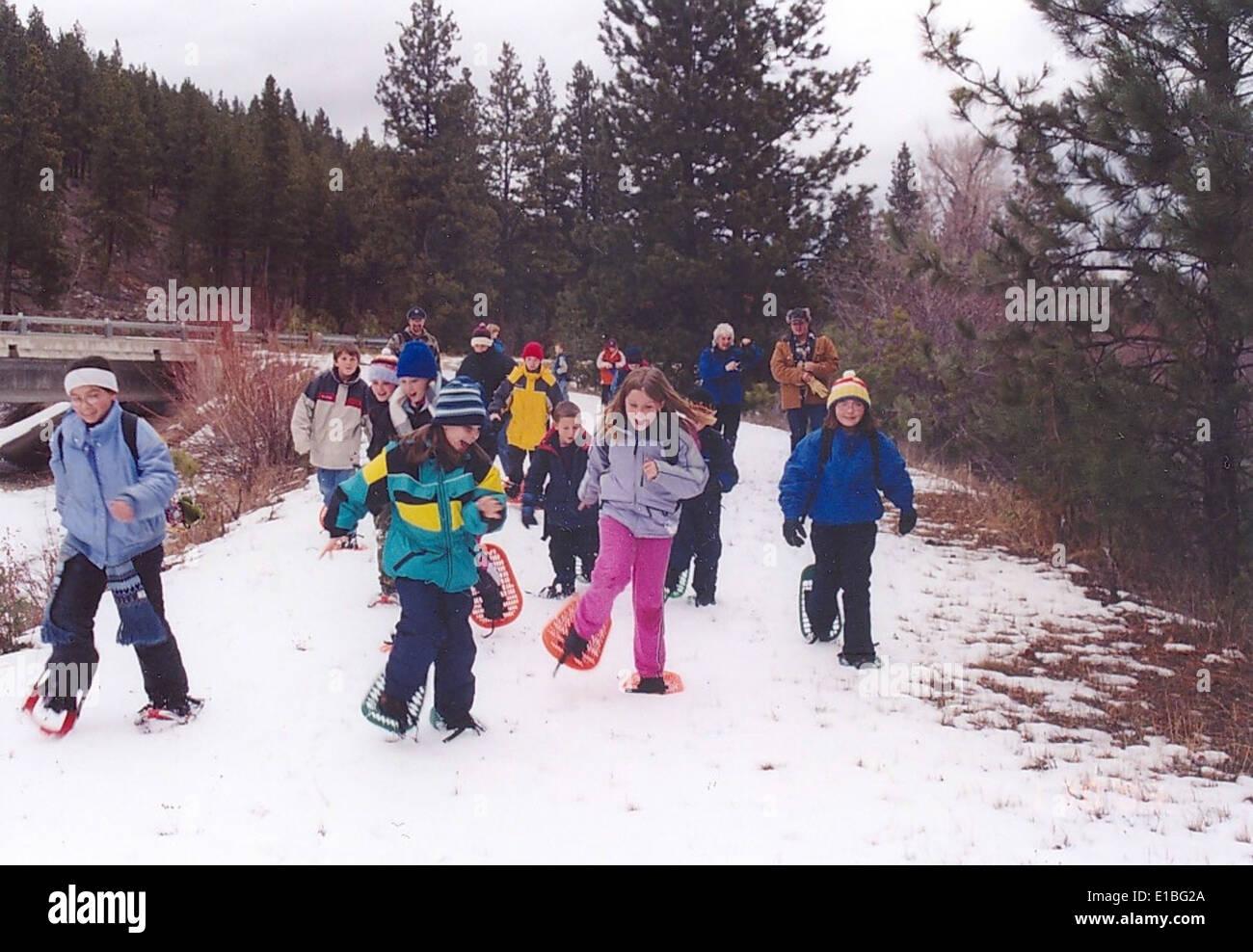 Snowshoing-R01-visages-schreck Banque D'Images