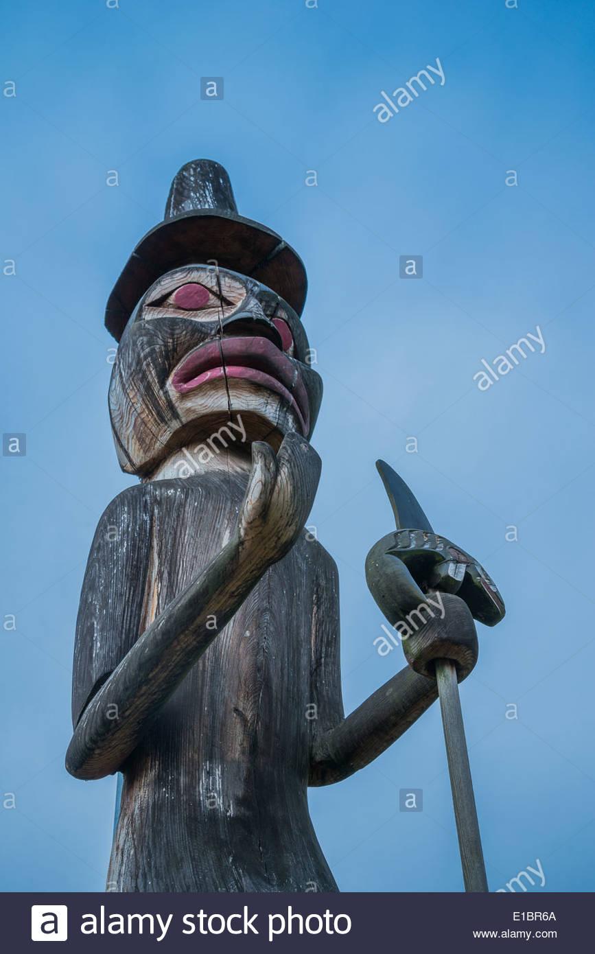 Le chef Dan George, sculpté par pôle Bienvenue Zac George, Hastings Park, Vancouver, British Columbia, Canada Photo Stock