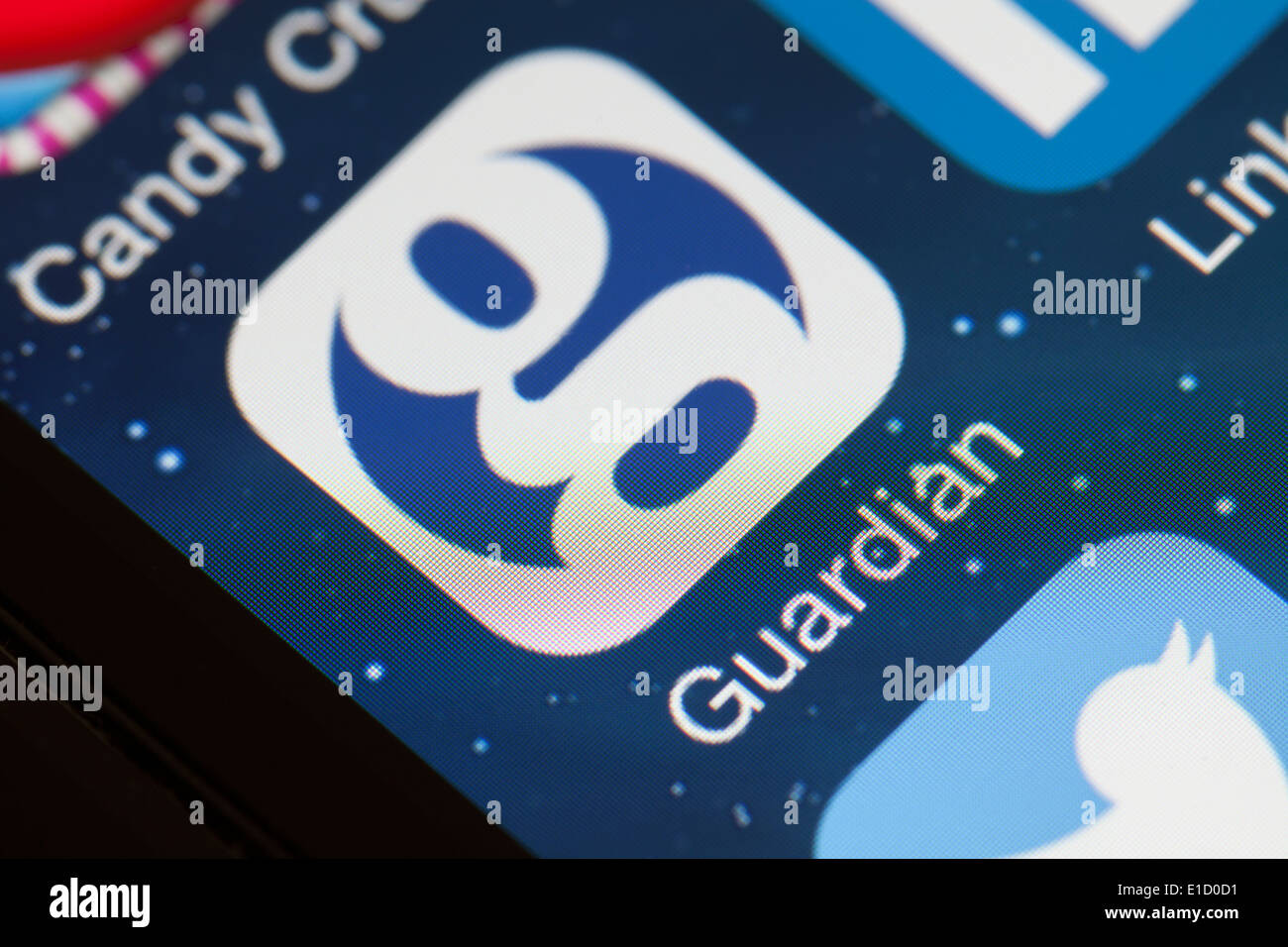 Icône de l'application Guardian sur téléphone mobile. Photo Stock
