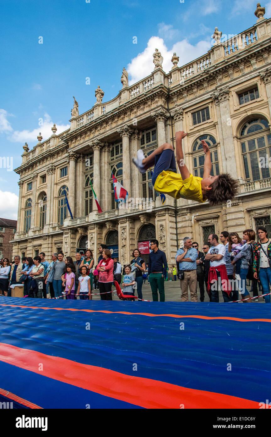 """Turin, Italie. 31 mai, 2014. L'événement """"Le sport va dans le carré de Turin"""". Turin Photo Stock"""